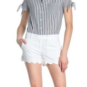 J. Crew scalloped linen white shorts